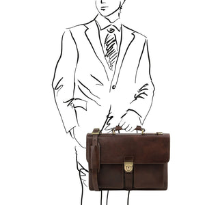 Man Posing With The Dark Brown Leather Attache Briefcase
