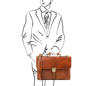 Man Posing With The Honey Leather Attache Briefcase