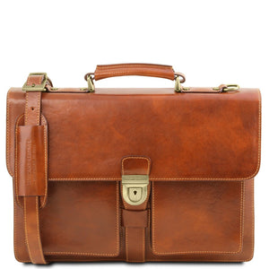 Front View Of The Honey Leather Attache Briefcase