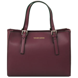 Front View Of The Bordeaux Aura Ruga Leather Handbag
