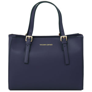 Front View Of The Dark Blue Aura Ruga Leather Handbag