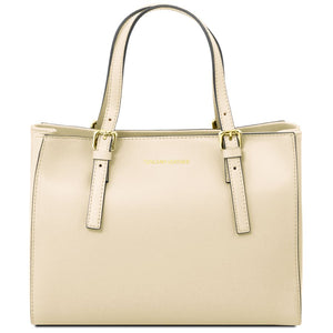 Front View Of The Ivory Aura Ruga Leather Handbag