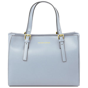 Front View Of The Light Blue Aura Ruga Leather Handbag