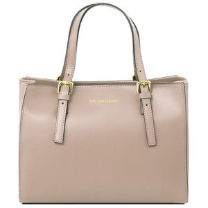 Front View Of The Light Taupe Aura Ruga Leather Handbag
