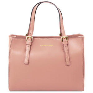 Front View Of The Ballet Pink Aura Ruga Leather Handbag