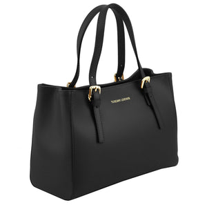 Angled View Of The Black Ruga Handbag