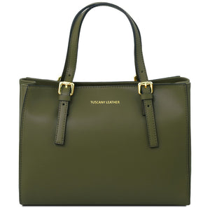 Front View Of The Olive Green Aura Ruga Leather Handbag