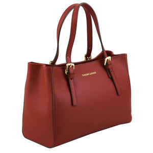 Angled View Of The Red Ruga Handbag