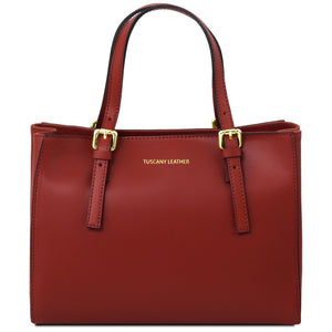 Front View Of The Red Ruga Handbag