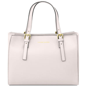Front View Of The White Aura Ruga Leather Handbag