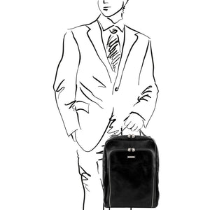 Sketch Of Man Posing With The Black Bangkok Leather Laptop Backpack