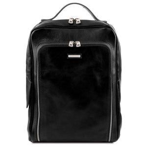 Front View Of The Black Bangkok Leather Laptop Backpack