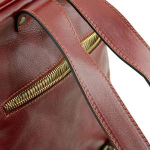 Rear Zip Pocket View Of The Brown Bangkok Leather Laptop Backpack