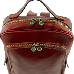 Top Exterior View Of The Brown Bangkok Leather Laptop Backpack