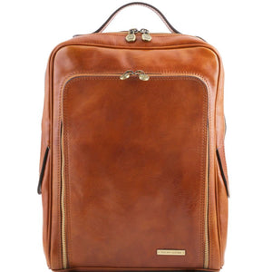 Front View Of The Honey Bangkok Leather Laptop Backpack