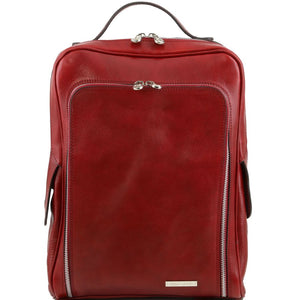 Front View Of The Red Bangkok Leather Laptop Backpack