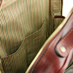 Internal Pockets View Of The Brown Bangkok Leather Laptop Backpack
