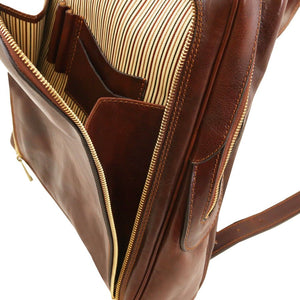 Internal Compartment View Of The Brown Bangkok Leather Laptop Backpack