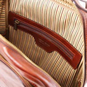 Internal Zipper Pocket View Of The Brown Bangkok Leather Laptop Backpack