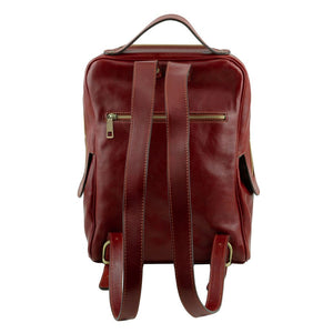 Rear View Of The Brown Bangkok Leather Laptop Backpack