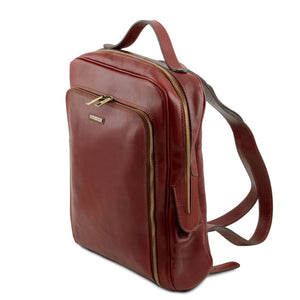 Angled View Of The Brown Bangkok Leather Laptop Backpack