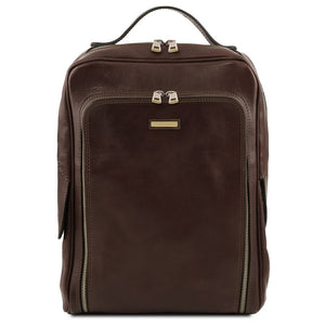 Front View Of The Dark Brown Bangkok Leather Laptop Backpack