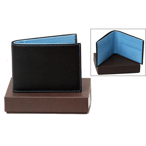 Front View Of The Dark Brown Internal Blue Designer Mens Leather Wallet