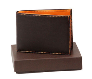 Front View Of The Dark Brown Internal Orange Designer Mens Leather Wallet