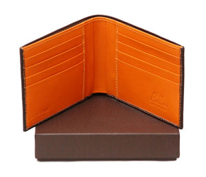 Open Wallet View Of The Dark Brown Internal Orange Designer Mens Leather Wallet