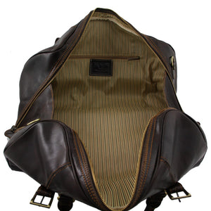 Internal View Of The Dark Brown Large Travel Bag