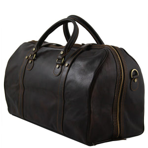 Angled View Of The Dark Brown Large Travel Bag