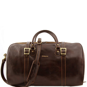 Front View Of The Dark Brown Large Travel Bag