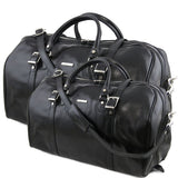 Front View Of The Black Leather Travel Set