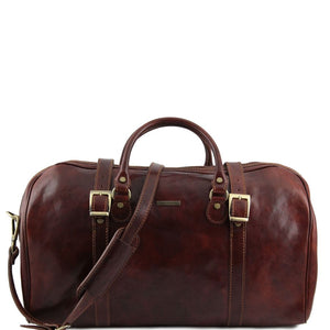 Front View Of One Of The Brown Leather Travel Set