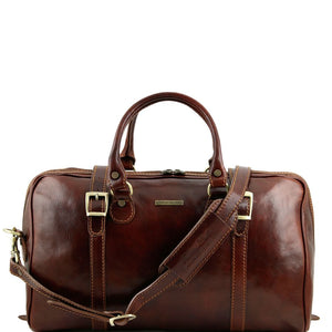 Shoulder Strap View Of One Of The Brown Berlin Leather Travel Set