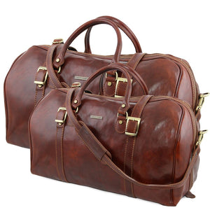 Front View Of The Brown Berlin Leather Travel Set