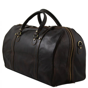 Angled View Of One Of The Dark Brown Leather Travel Set