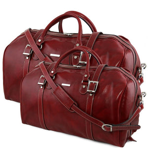 Front View Of The Red Leather Travel Set