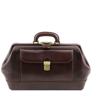 Front View Of The Dark Brown Leather Doctors Bag
