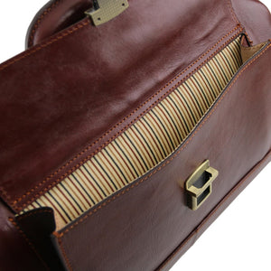 Front Pocket View Of The Brown Leather Doctors Bag