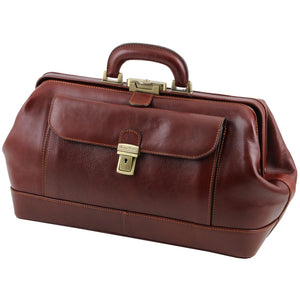 Angled View Of The Brown Exquisite Bernini Leather Doctors Bag