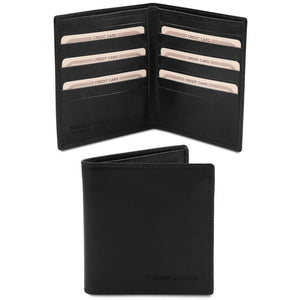 Front And Open View Of The Black Bifold Leather Wallet For Men