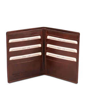 Open View Of The Brown Bifold Leather Wallet For Men