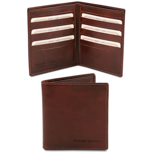 Front And Open View Of The Brown Bifold Leather Wallet For Men