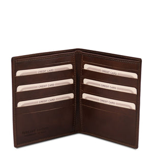 Open View Of The Dark Brown Bifold Leather Wallet For Men
