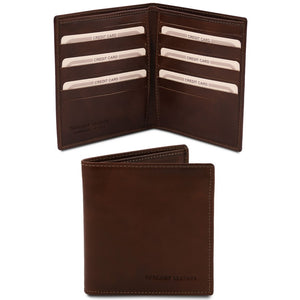Front And Open View Of The Dark Brown Bifold Leather Wallet For Men