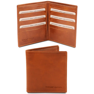 Front And Open View Of The Honey Bifold Leather Wallet For Men