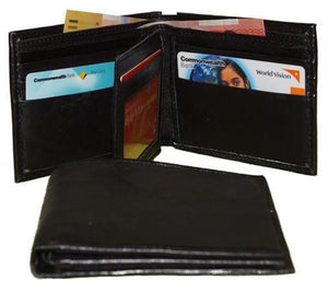 Front And Closed View Of The Black Mens Soft Leather Wallet