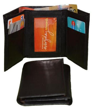 Front And Closed View Of Black Trifold Wallet Mens Leather