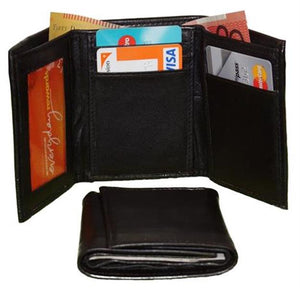 Front And Closed View Of The Black Mens Trifold Leather Wallet